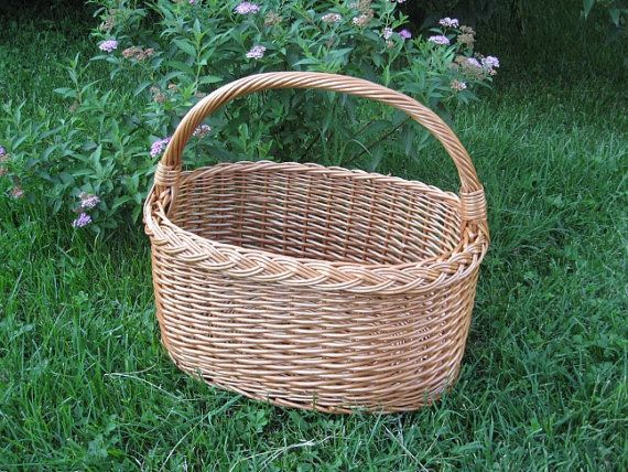 Oval Wicker Basket, Handmade Willow Picnic Basket, Grocery Basket, Willow Basket with Handle, €22.00 EUR