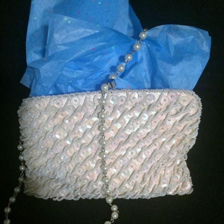 Vintage Bridal Purse, Pearl and Sequence Wedding Purse, Formal Clutch, Evening Bag by CZsINSPIRATIONS on Etsy