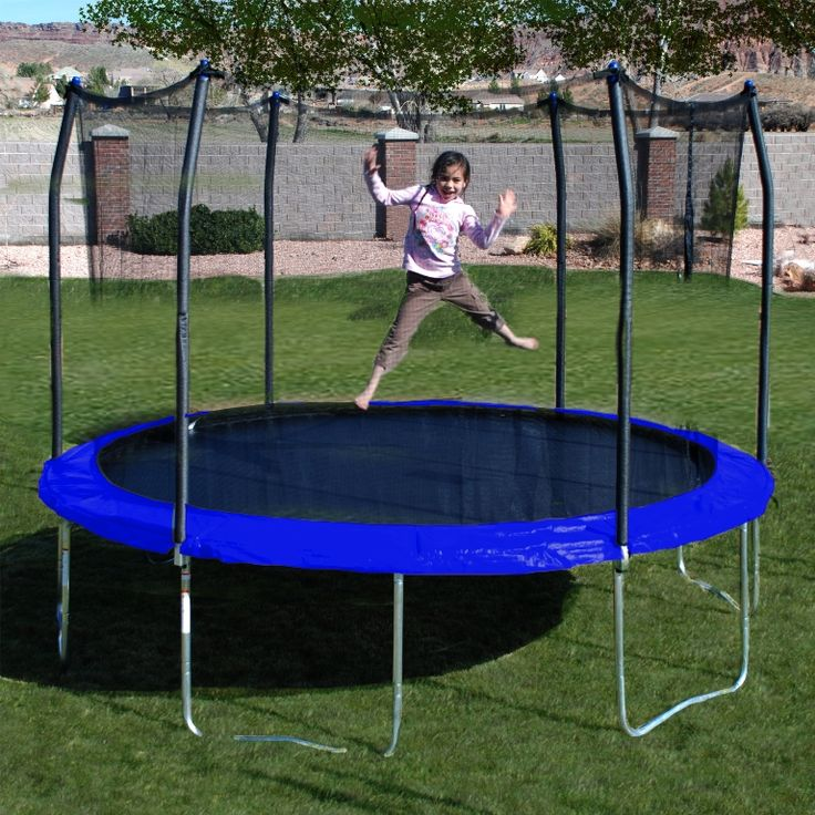 Exterior: Graceful 10ft Trampoline With Enclosure Cover from Outdoor Trampoline With Enclosure