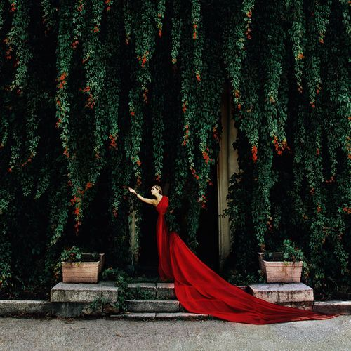 girl_in_red_one_shoulder_dress_with_extra_long_train: Long Red Dresses, Secret Gardens, Dresses Fashion, Colors, Dramas, Beautiful, Red Gowns, Fashion Photography, Fairies Tales