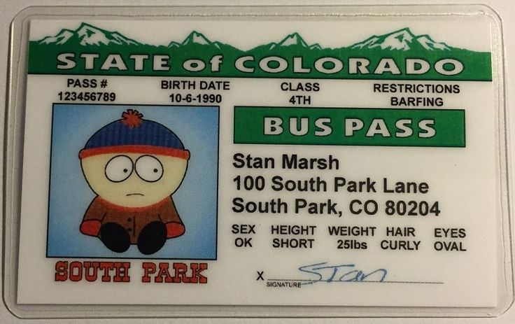 Stan Marsh Bus Pass //Price: $9.75 & FREE Shipping //     #southparkstyle