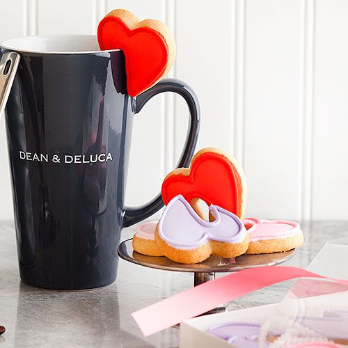 Heart Mug-Hugger Cookies: Made with premium butter, flour, sugar and eggs, these hand iced pink, red and purple heart-shaped cookies hang on the edge of your cup to add a touch of whimsy to your favorite beverage. - $37 at Dean & DeLuca