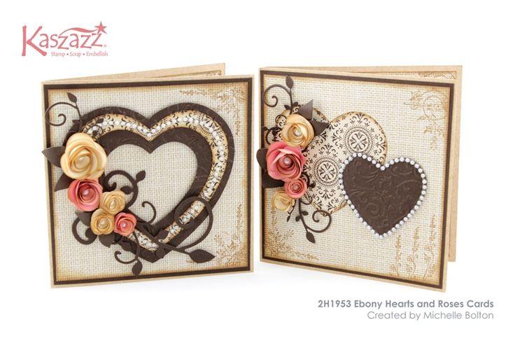 2H1953 Ebony Hearts and Roses Cards