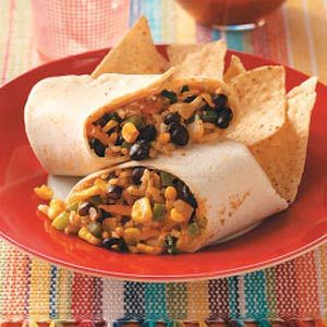 Corn, Rice & Bean Burrito's.  Make this vegan by using vegan yogurt and cheese!