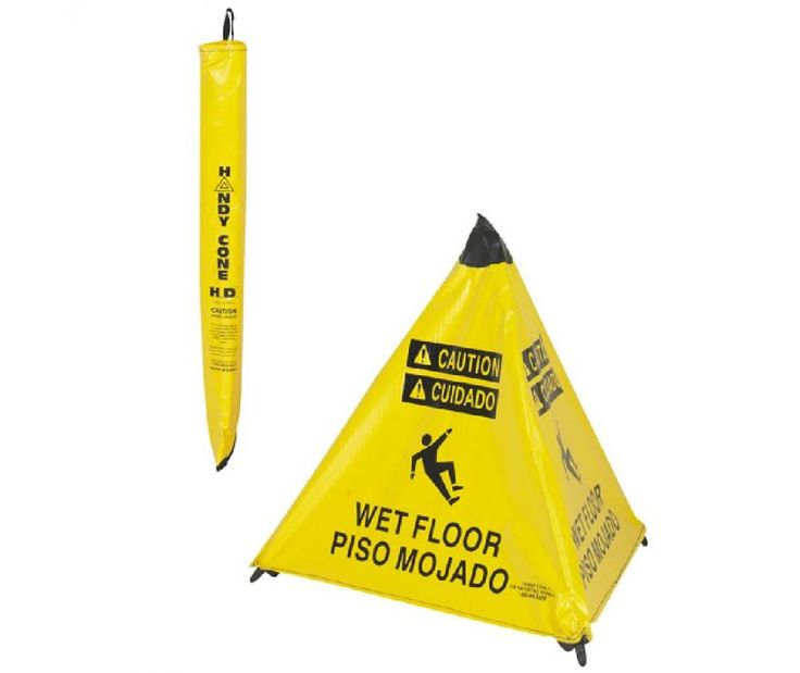 Handy Cone Heavy Duty Caution Wet Floor English/Spanish Yellow Cone  W/Yellow Storage Pouch