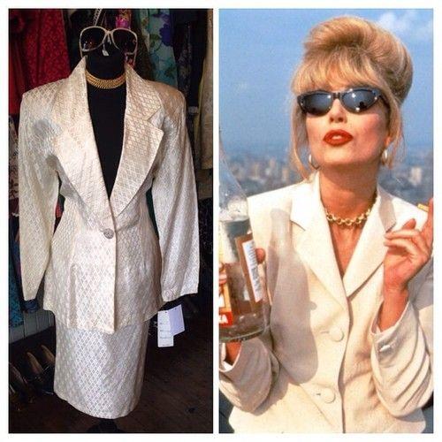 PATSY DARLING! 80s suit new with tags - size UK 12 - £22 #patsy #patsystone #abfab #absolutelyfabulous #british #britishtv #britishcomedy #joannalumley #vintage #vintageguruscotland #80s #90s #80ssuit #whitesuit #twitter #instagood #instagram #internationalselling #costume #dressup #funny #drunk #alcohol #cigarettes #sunglasses #choker #beehive #glasgow #byresroad