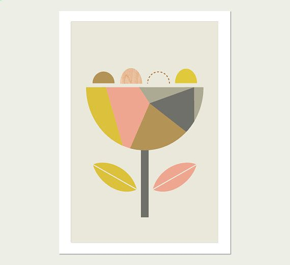 Scandi Flowers Kids Modern Art Print. Modern by LittleDesignHaus, $25.00