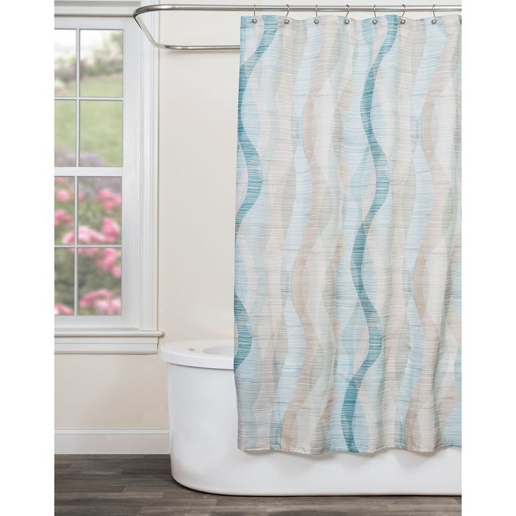 Features:  -Easy care.  -Machine wash and dry.  -Other color: Beige.  Product Type: -Shower curtain.  Material: -Polyester.  Pattern: -Striped.  Hooks Required: -Yes.  Gender: -Neutral.  --The Sketchb