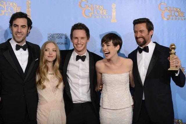 Les Miserables cast (Anne Hathaway, Sacha Baron Cohen, Hugh Jackman, Amanda Seyfried and Eddie Redmayne) / 70th Golden Globe