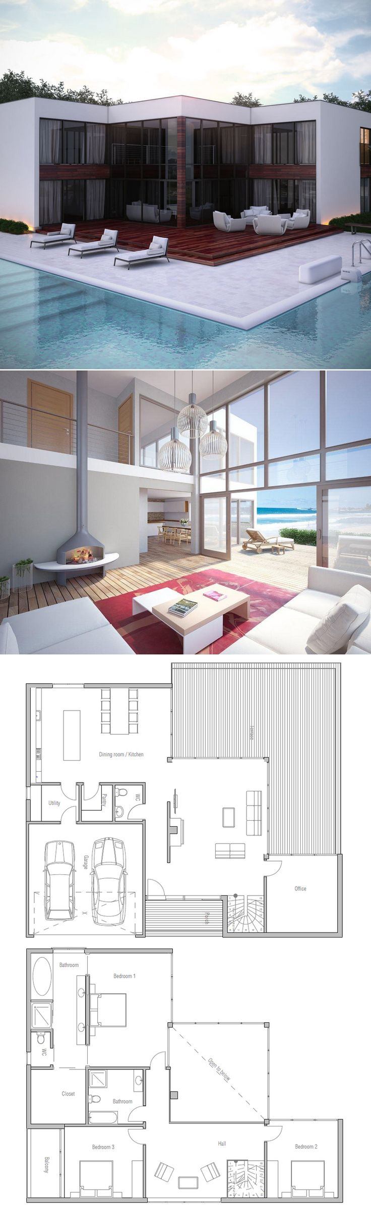 Floor area: 273 m Building area: 172 m Bedrooms: 3 Bathrooms: 3. Modern  House PlansPool ...