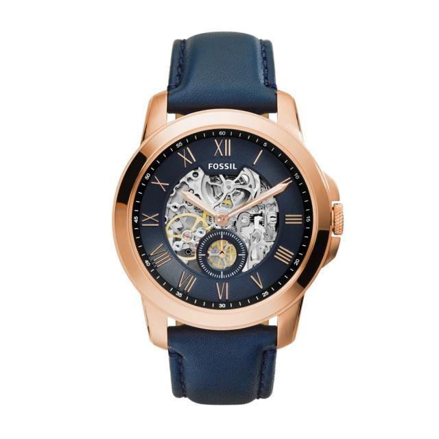 FOSSIL HORLOGE me3054 | Rosé en blauw voor de modische man | http://www.horlogesstyle.nl/fossil-horloges #fossil #fossilhorloges #rosegoud