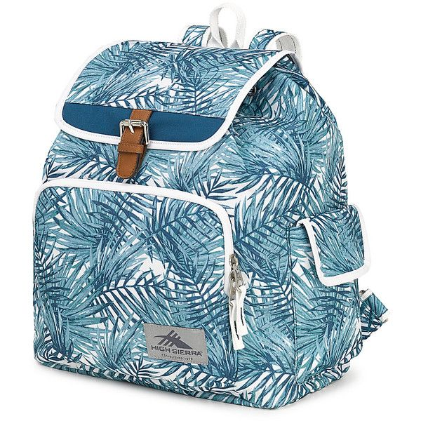 High Sierra Elly Backpack - Palms/Lagoon/White - School Backpacks ($30) ❤ liked on Polyvore featuring bags, backpacks, blue, white bag, backpack bags, blue bag, day pack backpack and high sierra rucksack