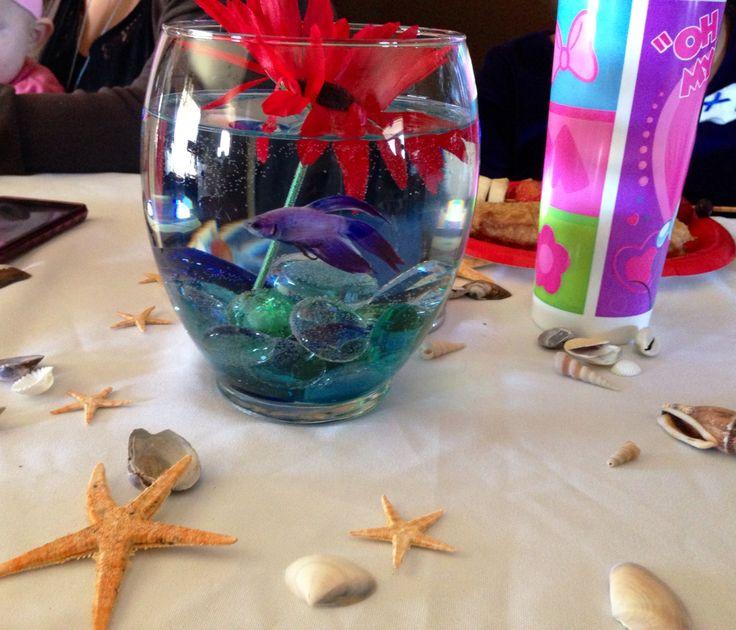 Nautical Theme Baby Shower Centerpieces, Blue Betta Fish
