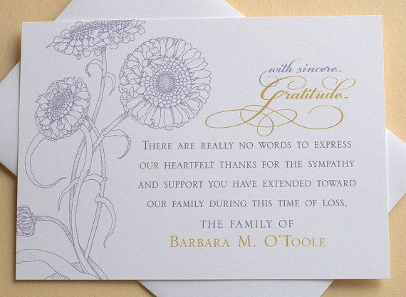 25+ unique Funeral thank you cards ideas on Pinterest Funeral - funeral thank you note