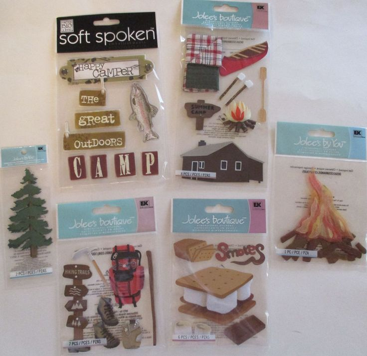 Scrapbooking Stickers Lot Jolee's Boutique CAMPING Hiking Campfire Smores Canoe…