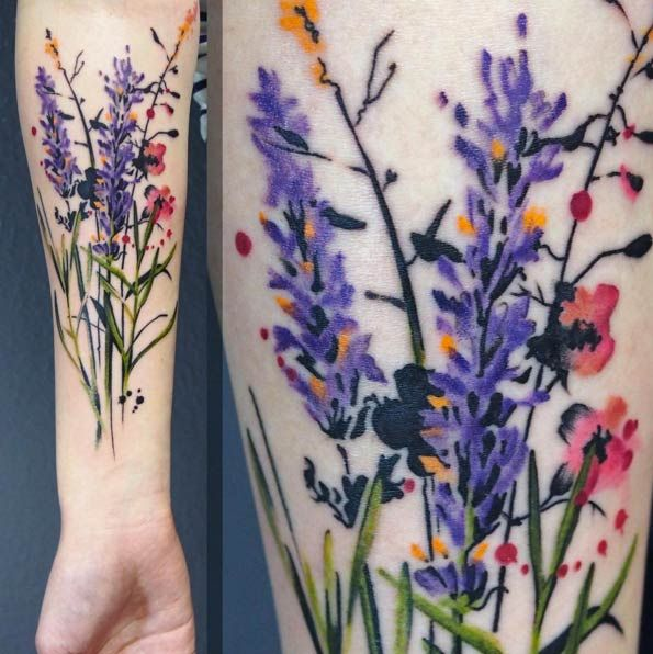 Wild Flower Tattoo by Julia Rehme so I never really liked the plant heather as it shares my name, and I would like to have a cool meaning behind it. But this would look awesome as the plant tattooed