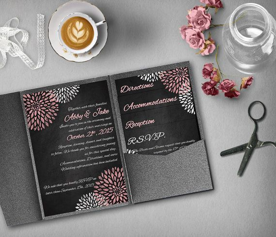Pink and Silver Wedding Invitation Template Invitation Suite