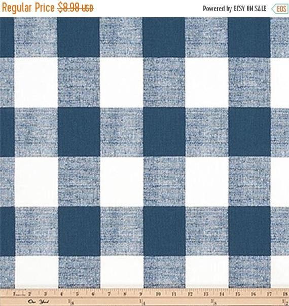 ON SALE - 10% Off Premier Prints Premier Navy Blue Buffalo Check Home Decorating Fabric BTY