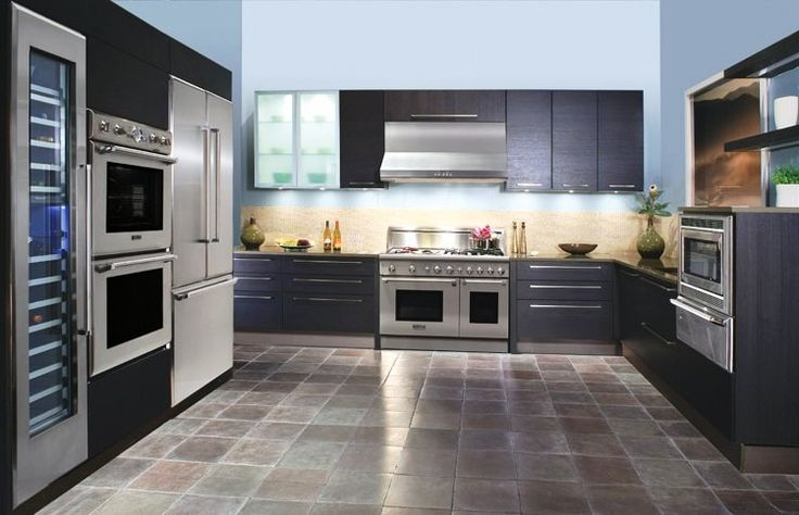 Kitchen:Cheap Kitchen Design Ideas With Wooden Kitchen Remodeling Plus Wooden Shelves And Cabinets Also Stainless Steel Oven Exhaust And Refrigerator And With Tiles Kitchen Design Flooring Ideas Minimalist Kitchen Remodeling Ideas with Big Brown Wooden Cabinets and Shelves