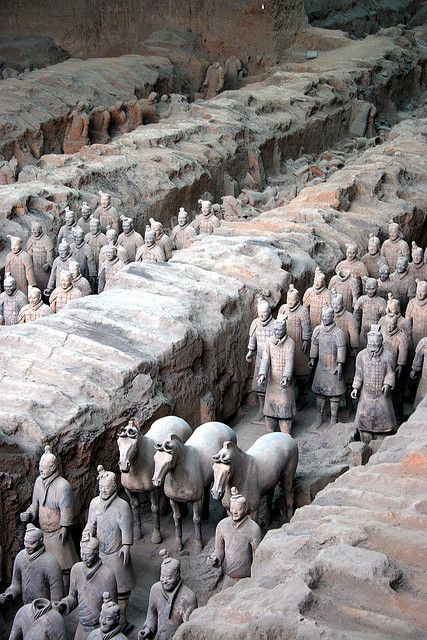 The Terracotta Army, XI`an, China/ Every face is different, and there are over 8,000 soldiers, 130 chariots with 520 horses and 150 cavalry horses. They've also unearthed officials, strongmen, acrobats and musicians. These date back to the late third century B.C. to protect the emperor in the afterlife.