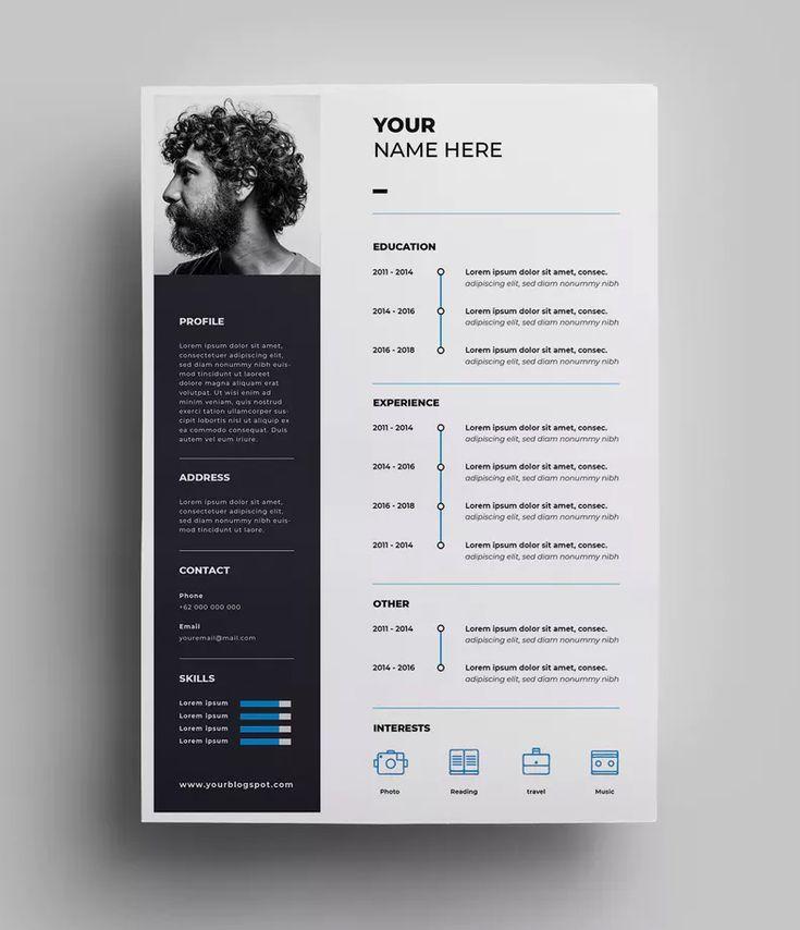 Resume Design Templates AI, EPS – A4 paper size. Download