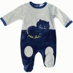 Pyjama garçon en velours gris et marine Mon petit chat
