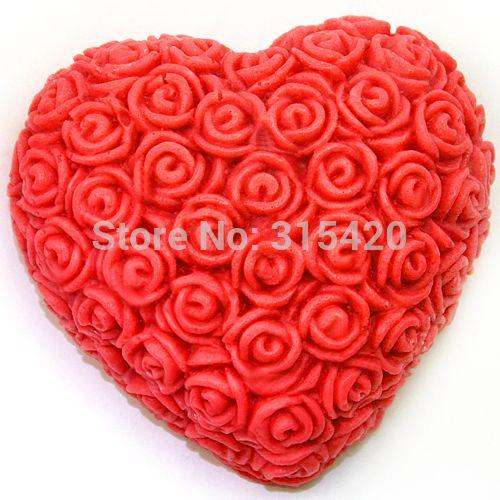 Nicole R1003 3D Rosa Cuore FAI DA TE Stampi In Silicone Sapone Candela Decorativa In Resina, Argilla Artigianato Stampi Per il Cioccolato Forma