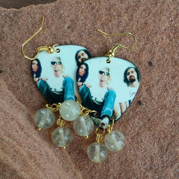 Nirvana Kirk Cobain guitar pick earrings with quartz.