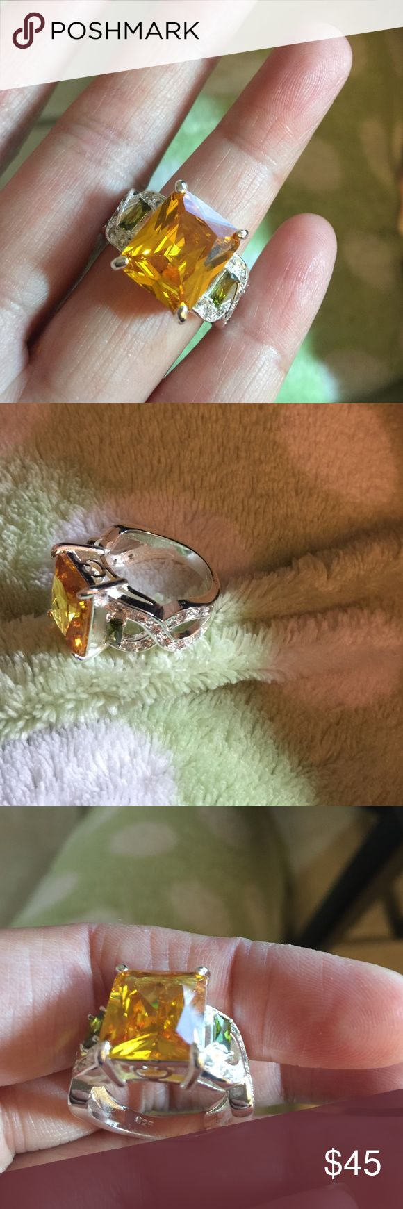 New Citrine & White Topaz Gemstone Ring Gorgeous Stamped 925 Sterling silver Citrine & Topaz Gemstone Ring, great for gift, bundle to save, fast shipping! Jewelry Rings