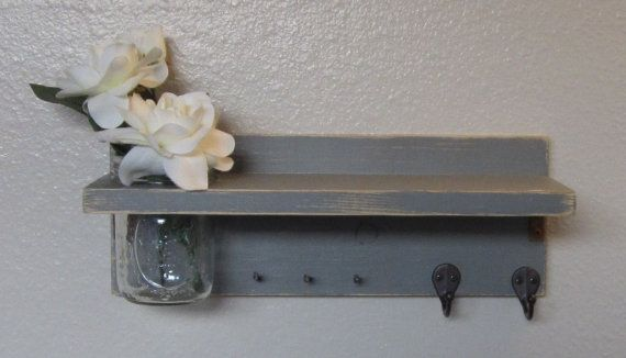 Shabby Chic Nautical Beach Cottage Entryway Flower Vase Shelf Key ring and Coat Towel Hat Rack Hanger in Distressed Wet Cement