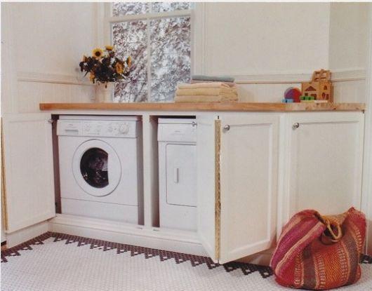 washing machine hidden under counter