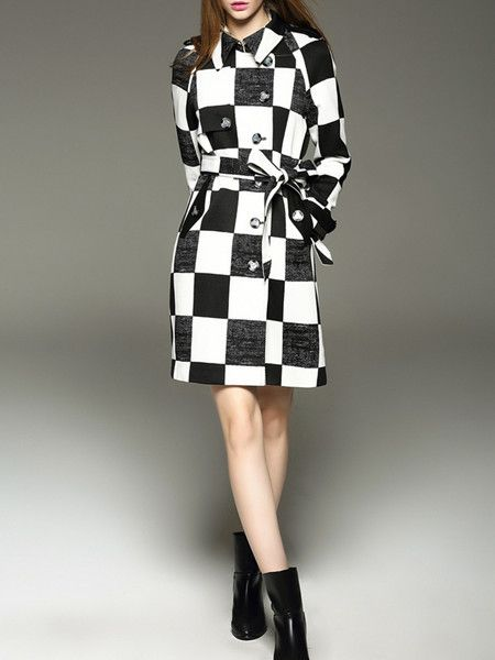 Color-block Polyester Long coat