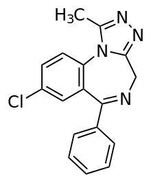 Alprazolam (Xanax) structure