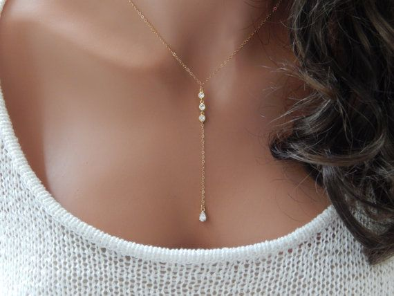 CZ Lariat Necklace Diamond Teardrop Lariat by SimpleAndLayered in silver
