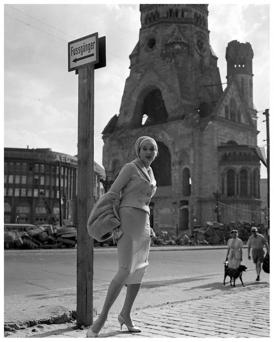 German model Gisela Ebel-Penkert wearing fashions from the New West Berlin Fashion Center, photo by Michael Rougier, West Berlin, Germany, June 1957