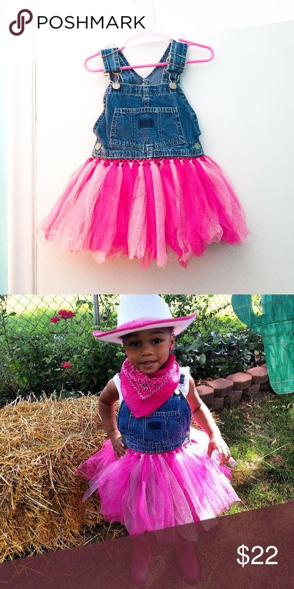 Custom TuTu overall Blue Jean and Pink overalls TuTu Dresses
