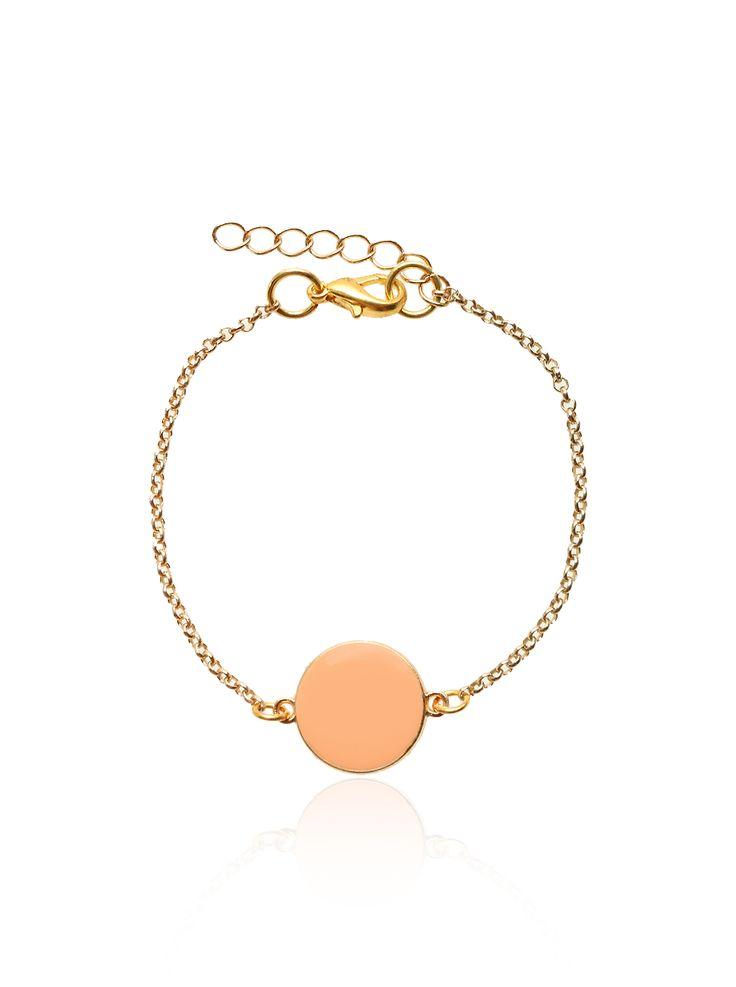 Coloured Candy – Coin Armband Goud – Oranje