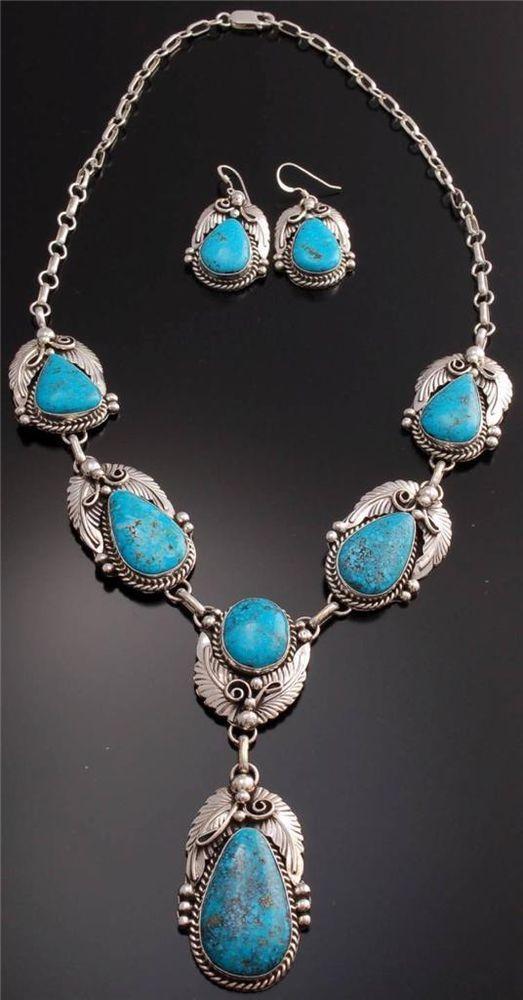 Gorgeous Kingman Turquoise Silver Necklace / Earring Set Augustine Largo - TO22U