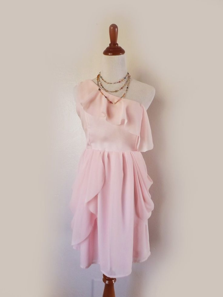Shabby Sheek Dresses Light Pink Chiffon One Shoulder Shabby Chic Bridesmaid Dress 42 00 Kleider Chiffon Shabby Chic
