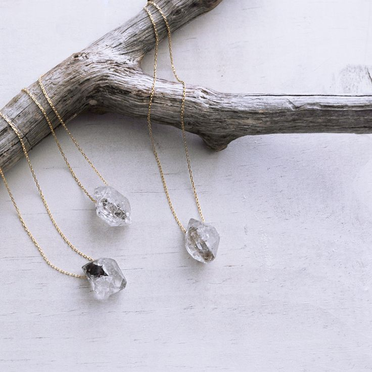 A perfect layering piece! A Herkimer diamond is a unique, double-terminated type of quartz first discovered in Herkimer County, New York. It is not actually a diamond but it naturally forms multiple f