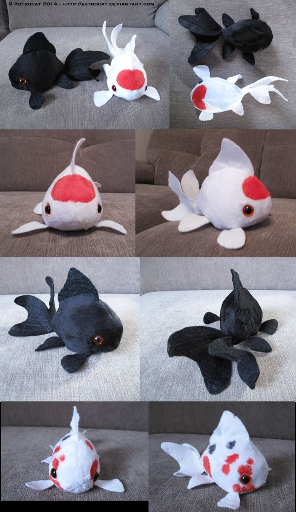 Cute lil' dumpy fish! Polo, Herne and Pebble for My pattern for them is here- Oranda fancy goldfish plushe pattern
