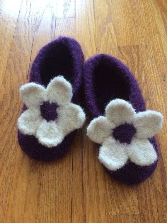 Little Girls Hand Knit Felted Slippers by CozeeQuilts on Etsy