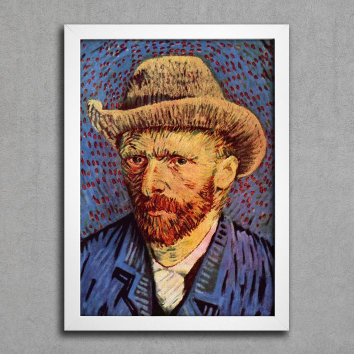 Van Gogh - Auto Retrato Com Chapéu — Encadreé Posters #quadro #decorativo #poster #arte #pintura