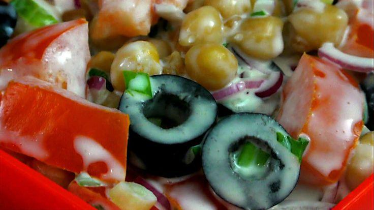 "Салат с горохом Нут/Салат с горохом Нут маслинами и помидорами/Салат ""Ве..."