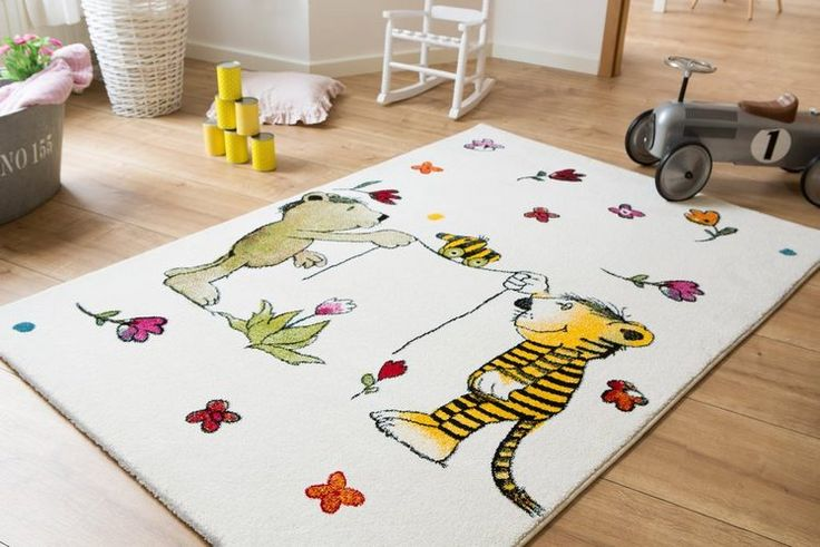 Kinder-Teppich, Janosch, »Blumenregen«, handgearbeitet