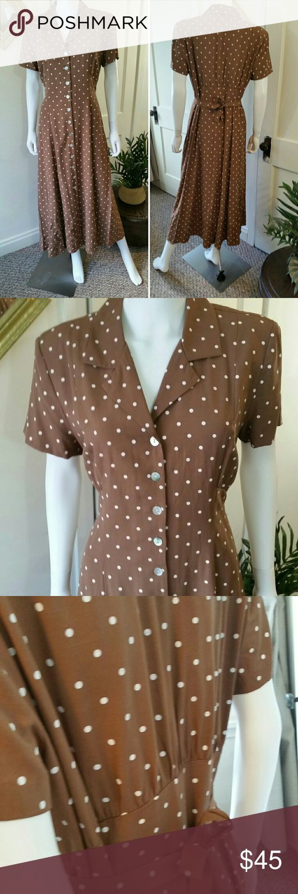 Vintage Polka Dot 40s style Dress - 12 Excellent condition,  cafe color with dainty white Pila dots, mother of pearl buttons, tie back for a fitted look.   Vintage Sheri Martin NY brand. Vintage Dresses Midi