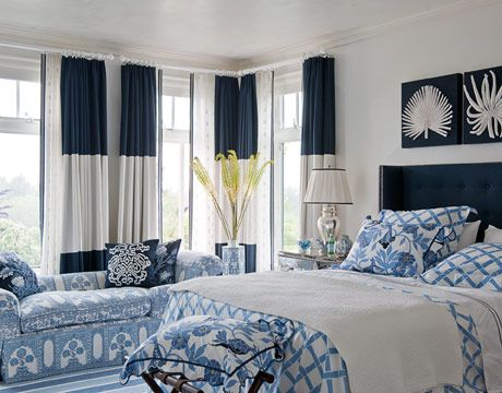 Nothing says crisp and clean like navy and white. Lulu DK Matouk bedding. Ankasa artwork.