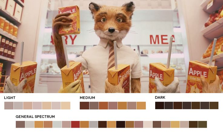 """Movies In Color / """"A blog featuring stills from films and their corresponding color palettes. A tool to promote learning and inspiration. Updated daily."""" / Fantastic Mr Fox still / via robertogreco"""