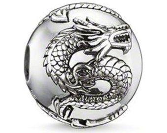 Fascino centrale Premium drago d'argento fascino per Bracciali - Bracciali Pandora si adatta