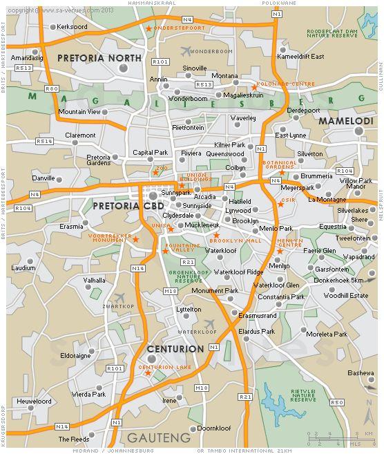 awesome Pretoria Metro Map